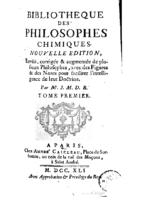 Bibliotheque des philosophes chimiques t1 (1741)