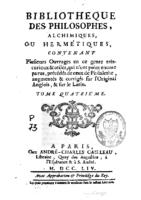Bibliotheque des philosophes chimiques t4 (1754)