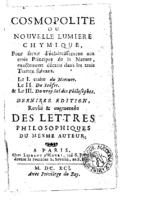 Cosmopolite Nouvelle lumiere chymique et Lettres