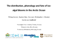 The distribution, phenology and fate of ice-algal blooms in Artic ocean