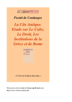 Etude cite antique Culte Droit Institutions grece rome antique