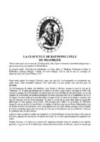 LA CLAVICULE DE RAYMOND LULLE